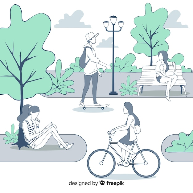 Hand drawn people in the park collection Free Vector