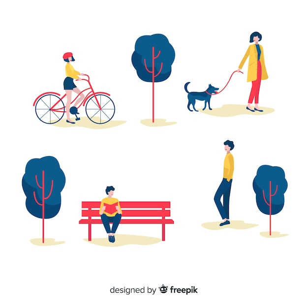 Hand drawn people in the park Free Vector