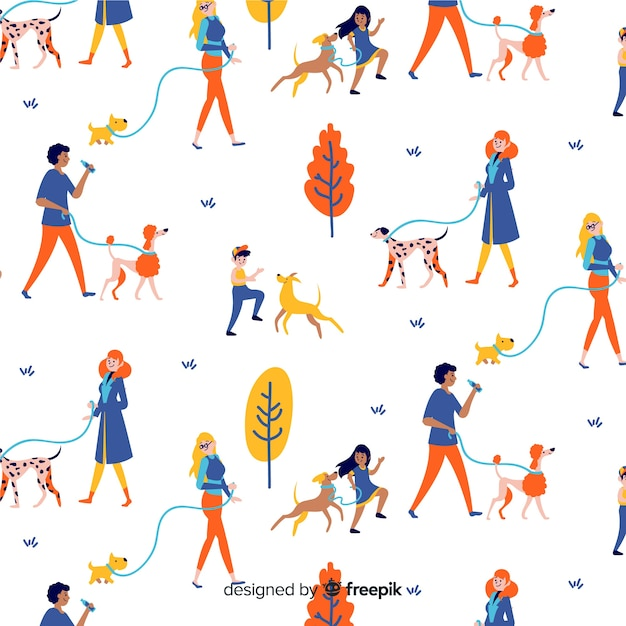 Hand drawn people pattern Free Vector