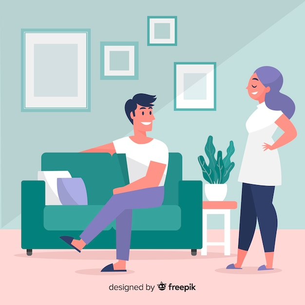 Hand drawn people relaxing at home illustration Free Vector