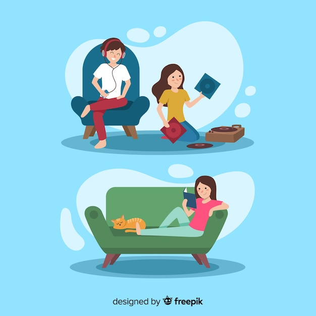 Hand drawn people relaxing at home Free Vector