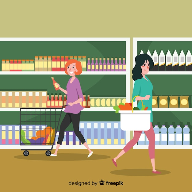 Hand drawn people shopping in the supermarket background Free Vector