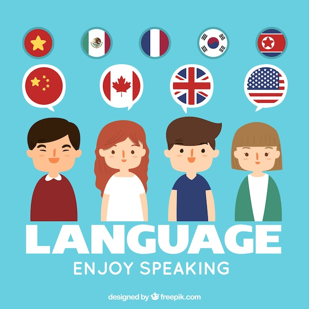 Hand drawn people speaking different languages Free Vector
