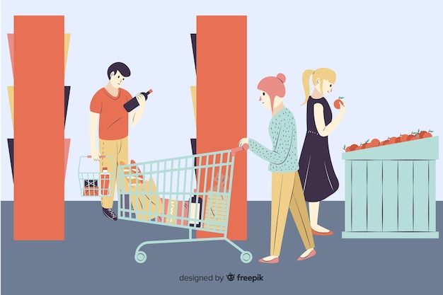 Hand drawn people in the supermarket background Free Vector