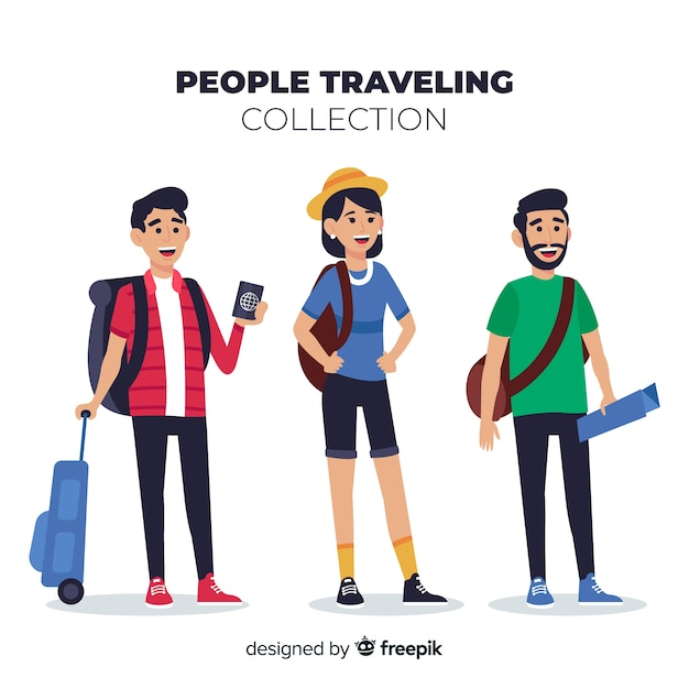 Hand drawn people traveling pack Free Vector