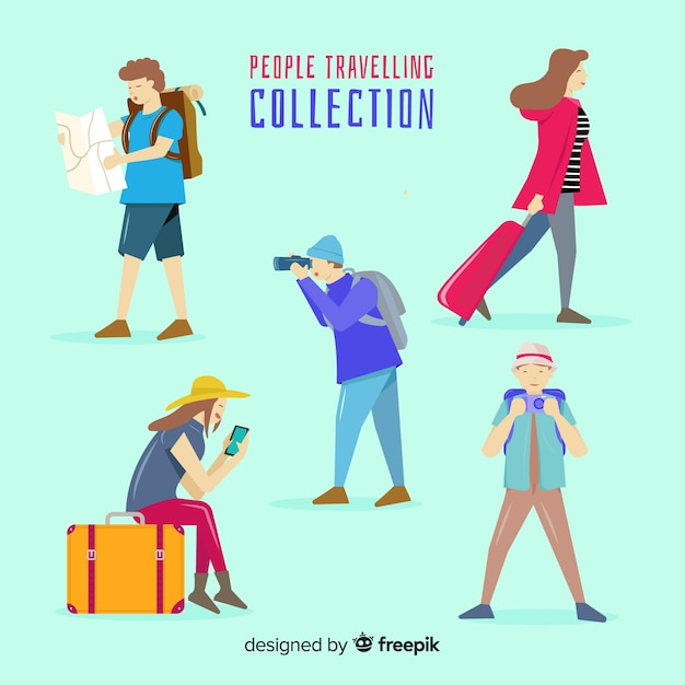 Hand drawn people travelling collection Free Vector