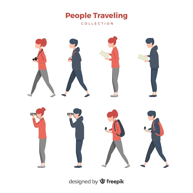 Hand drawn people travelling set Free Vector