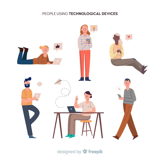 Hand drawn people using device collection Free Vector