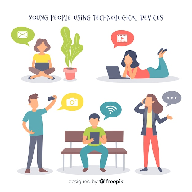 Hand drawn people using electronic device collection Free Vector