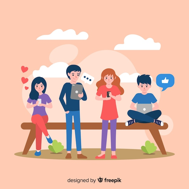 Hand drawn people using electronic devices illustration Free Vector