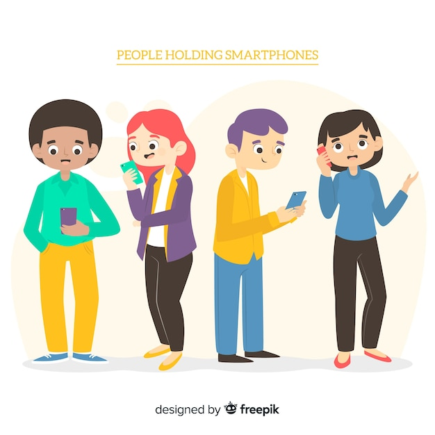 Hand drawn people using smartphone collection Free Vector