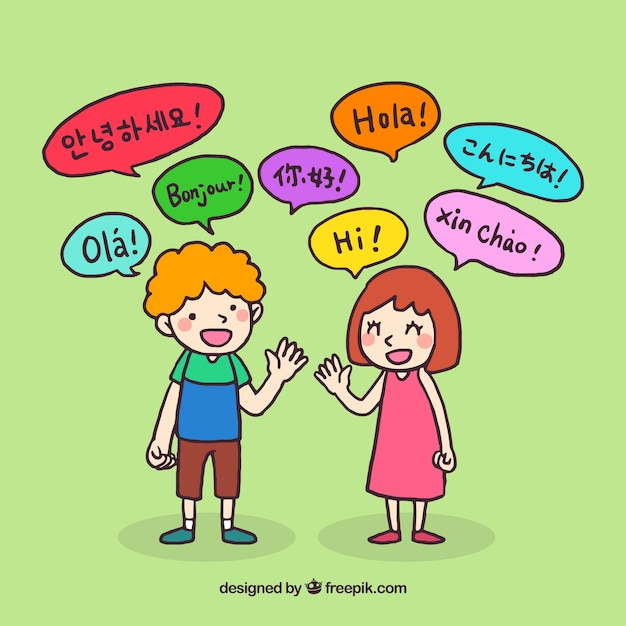 Hand drawn people with speech bubbles in different languages Free Vector