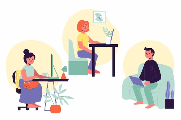 Hand drawn people working from home set Free Vector