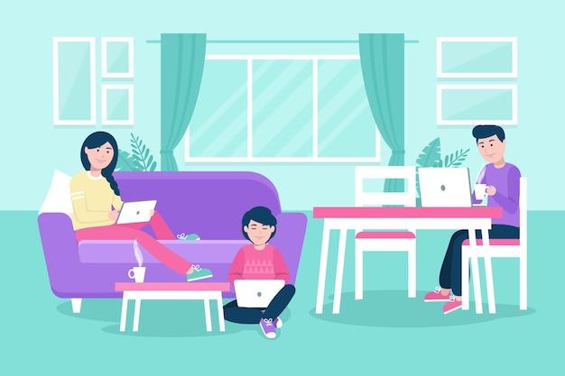 Рисованные люди, работающие из дома вместе Бесплатные векторы
