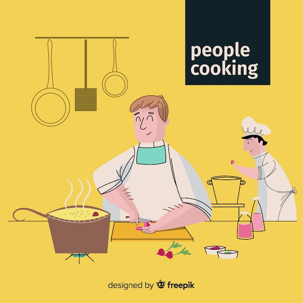 Hand drawn person cooking background Free Vector