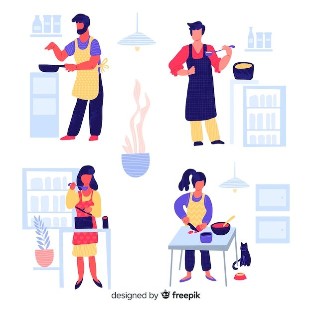 Hand drawn person cooking collection Free Vector