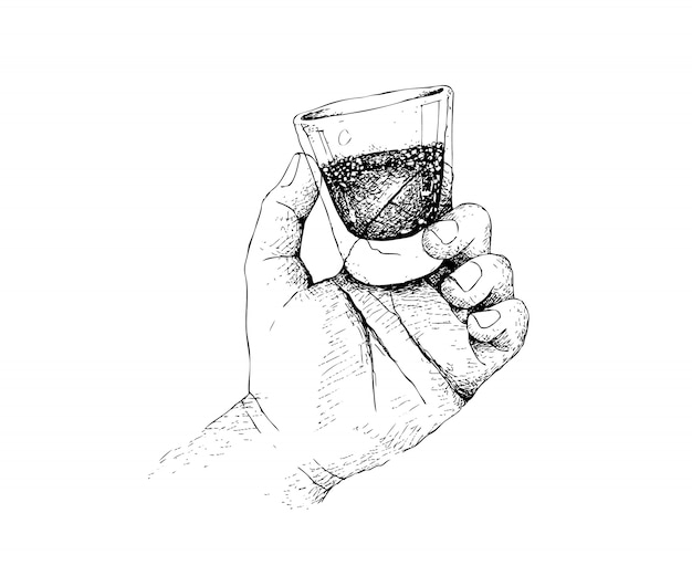 Hand drawn person holding a shot of whiskey Premium Vector