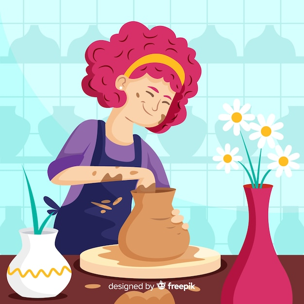 Hand drawn person making pottery Free Vector