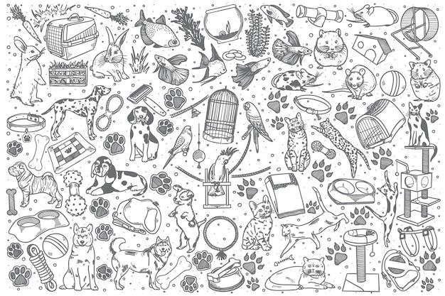 Hand drawn pets doodle set Premium Vector