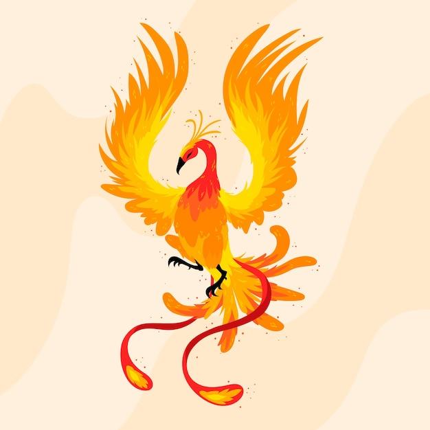 Ручной обращается птица феникс иллюстрированный Premium векторы