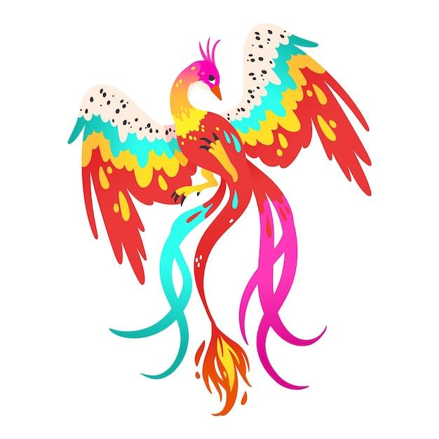 Рисованный феникс иллюстрированный Бесплатные векторы