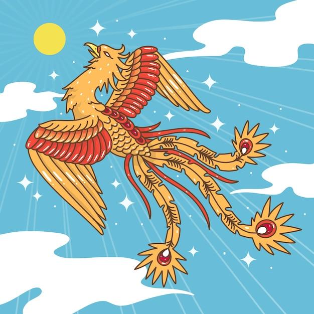 Ручной обращается феникс в небе с солнцем Бесплатные векторы