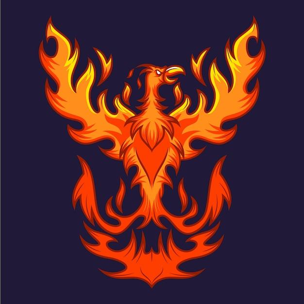 Hand drawn phoenix Premium Vector