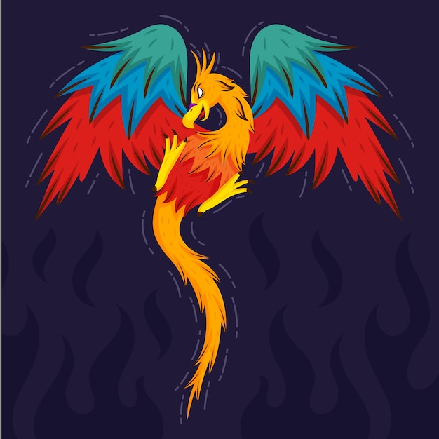 Hand drawn phoenix Premium Vector