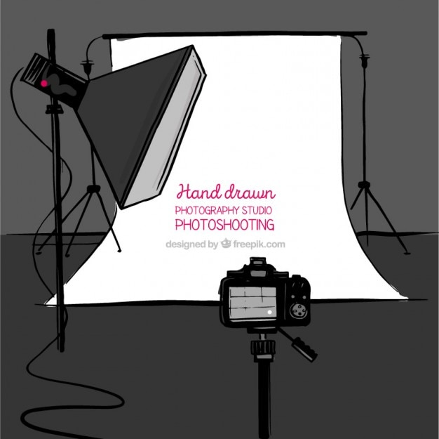 Hand drawn photo studio with accessories background