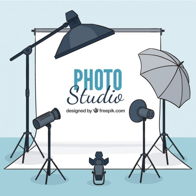 Hand drawn photo studio with elements Free Vector