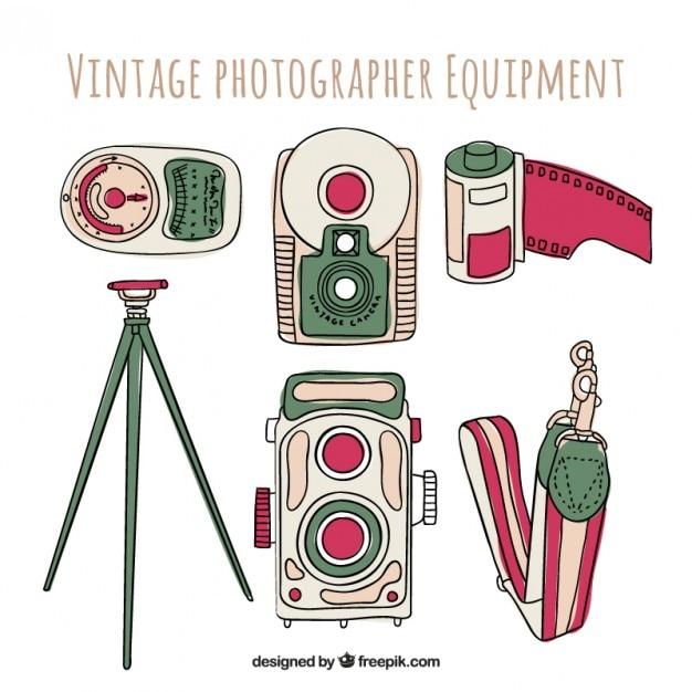 Hand drawn photography equipment
