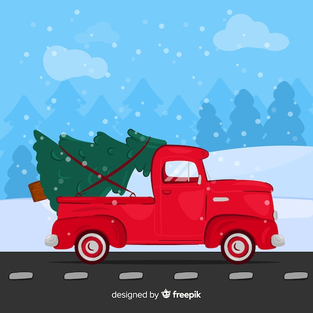 Free Christmas Tree Pick Up: Hand Drawn Pickup Truck With Christmas Tree Vector