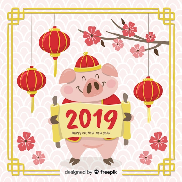 Hand Drawn Pig Chinese New Year Background Vector Free Download