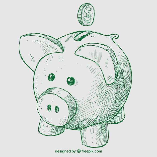 Hand drawn piggybank Premium Vector