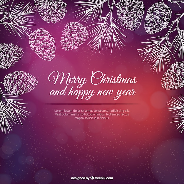 Hand drawn pine cones christmas background Free Vector