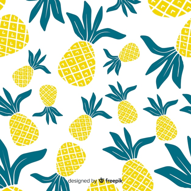 Hand drawn pineapples pattern Free Vector