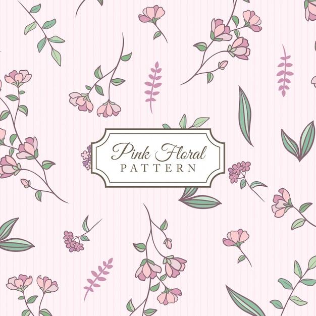 Hand drawn pink floral background Premium Vector