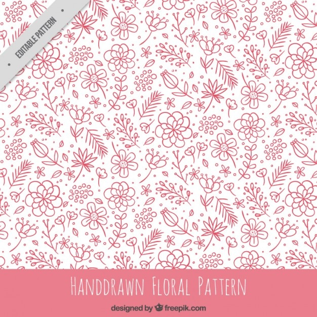 hand drawn pink floral pattern vector free download
