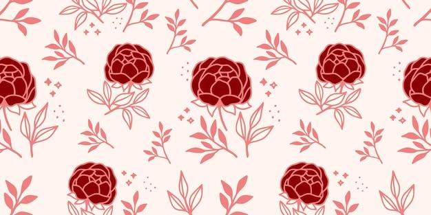 手描きのピンクの花と葉のシームレスなパターン Premiumベクター
