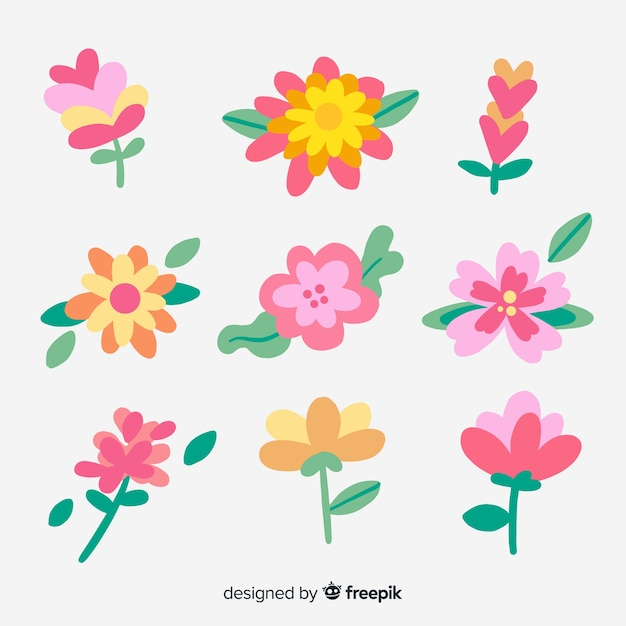 Hand drawn pink flowers collection Free Vector