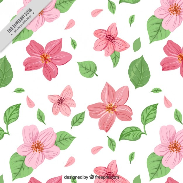 Hand drawn pink flowers with leaves\ background
