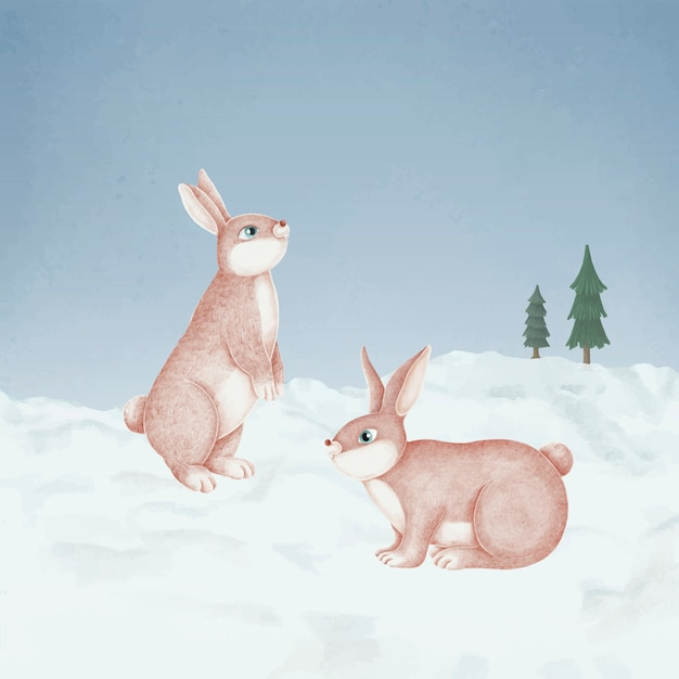 Hand-drawn pink rabbits in a snowy forest Free Vector