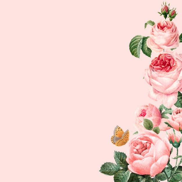 Hand drawn pink roses frame on pastel pink background Free Vector