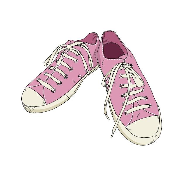 手描きのピンクの靴 Premiumベクター