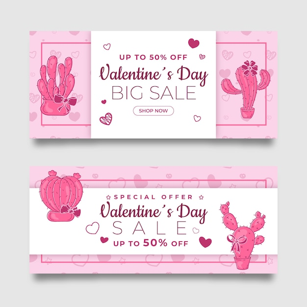 Hand drawn pink valentine's day sale banners set Free Vector
