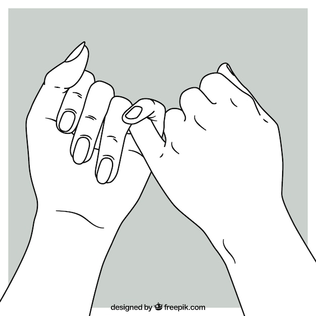 Hand drawn pinky promise composition Free Vector