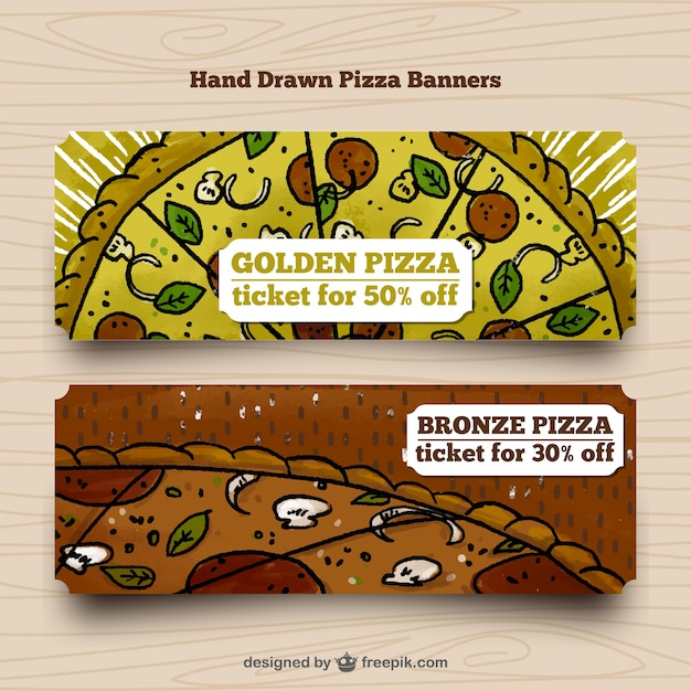 Hand drawn pizza banners Free Vector