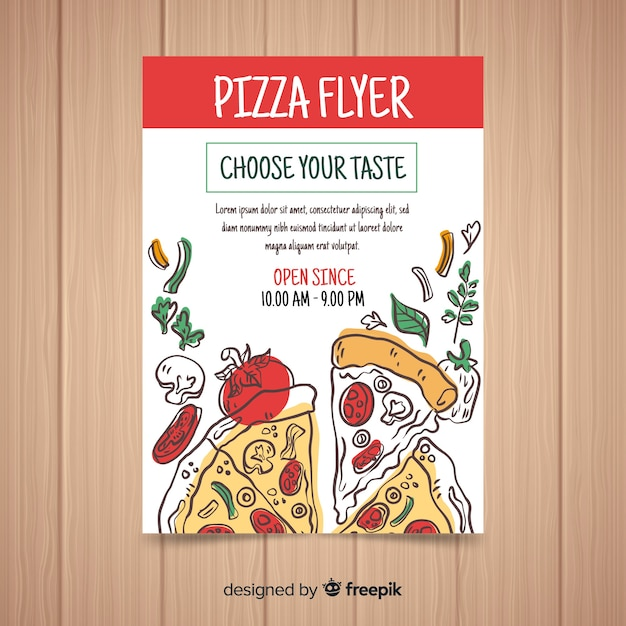 Hand drawn pizza flyer template Free Vector