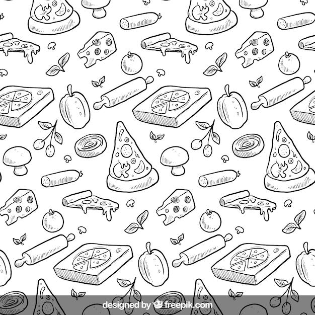 Ручной обращается рисунок пиццы Premium векторы