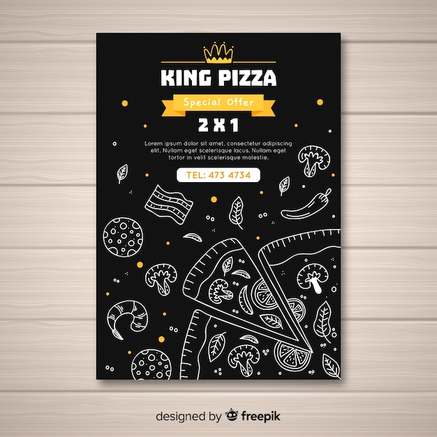 Hand drawn pizza poster template Free Vector